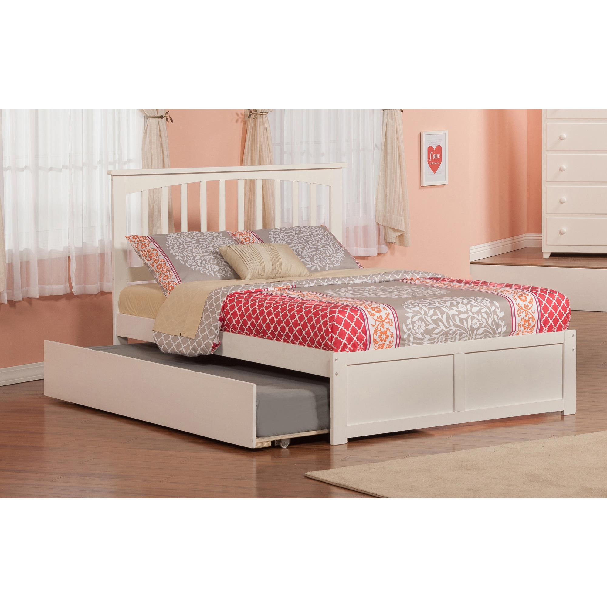 Atlantic Mission White Wood Full Bed with Flat-panel Foot...