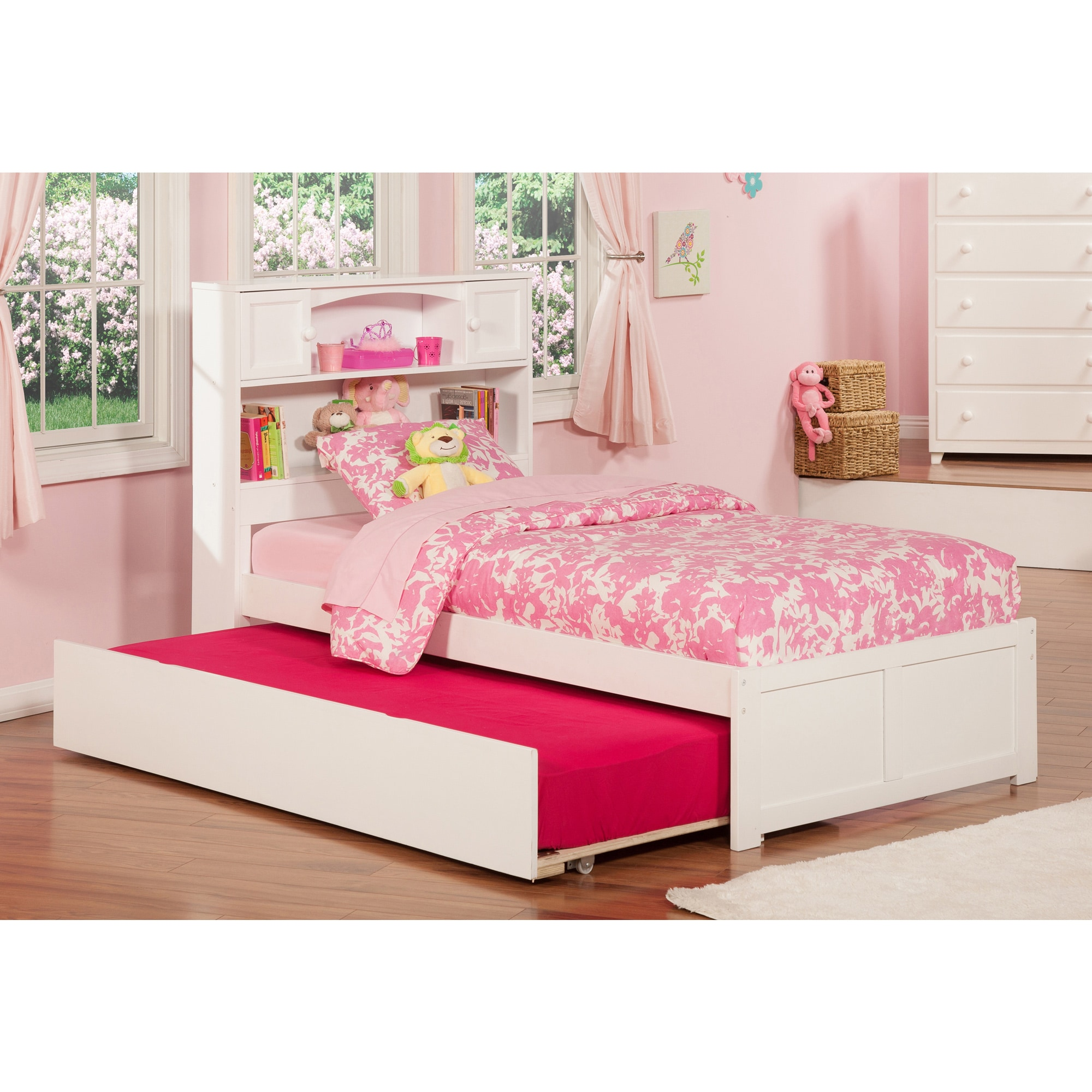 Atlantic Newport White Twin-sized Flat-panel Bed with Foo...