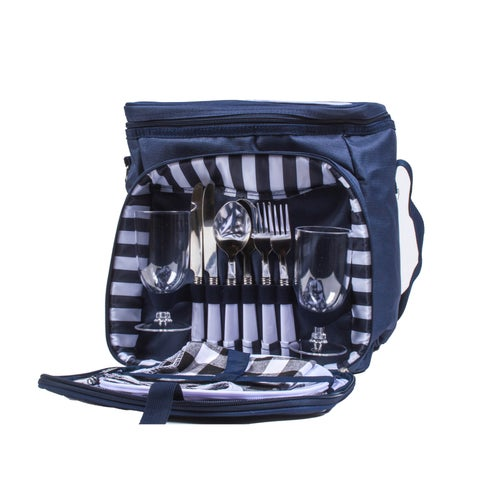 Insulated Blue Canvas Lunch Tote Backpack Cooler with Utensils and Plates