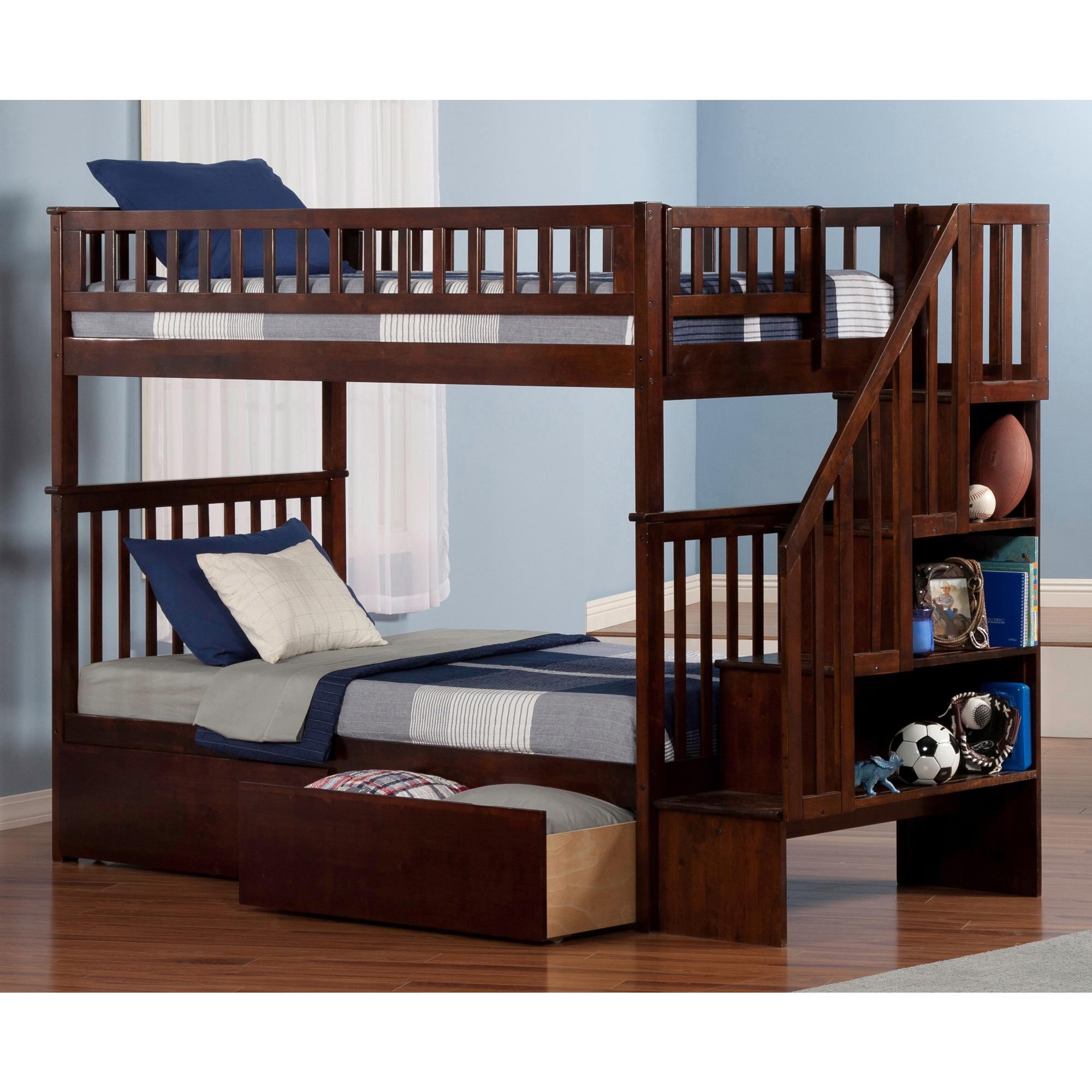 Atlantic Furniture Woodland Walnut Twin-over-twin Stairca...