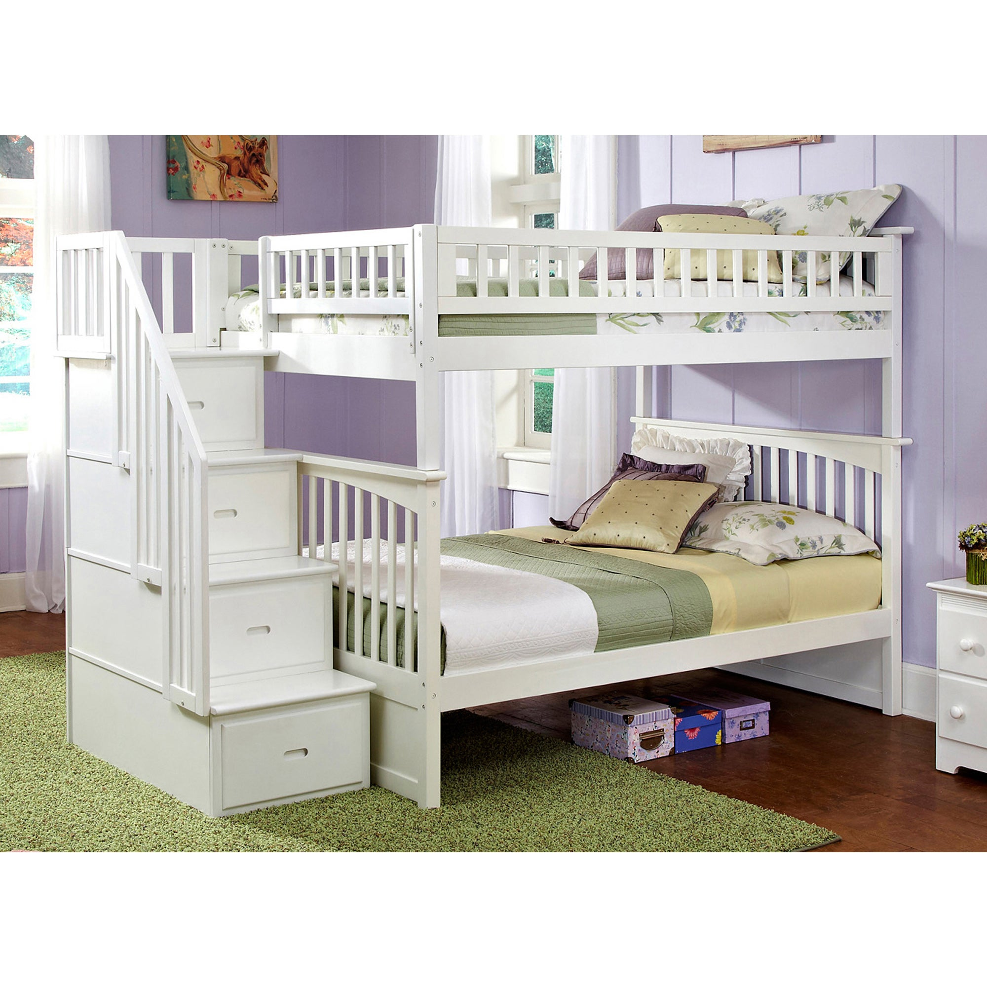 Atlantic Furniture Columbia Staircase Bunk Bed Full over ...