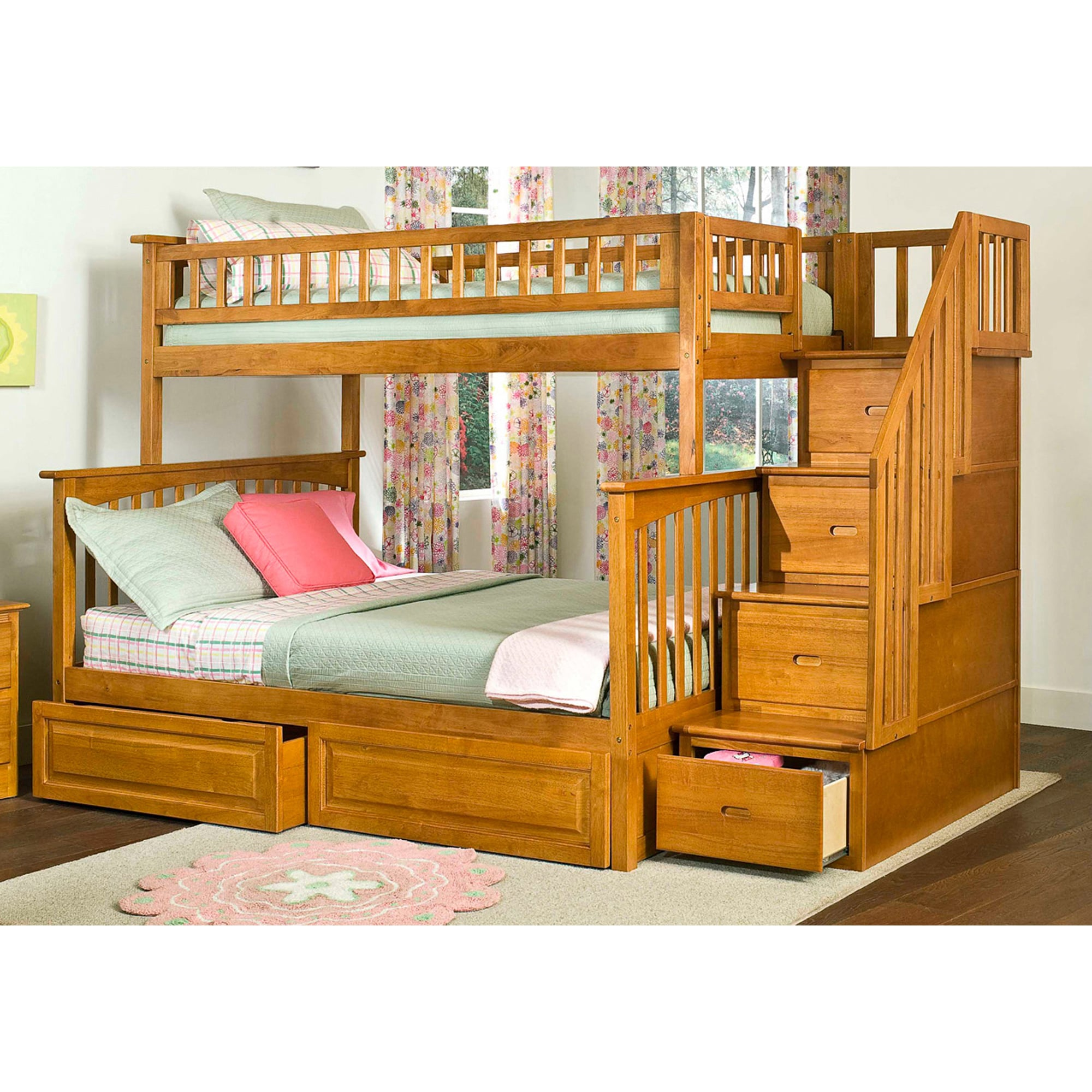 Atlantic Furniture Columbia Staircase Bunk Bed with Bed D...