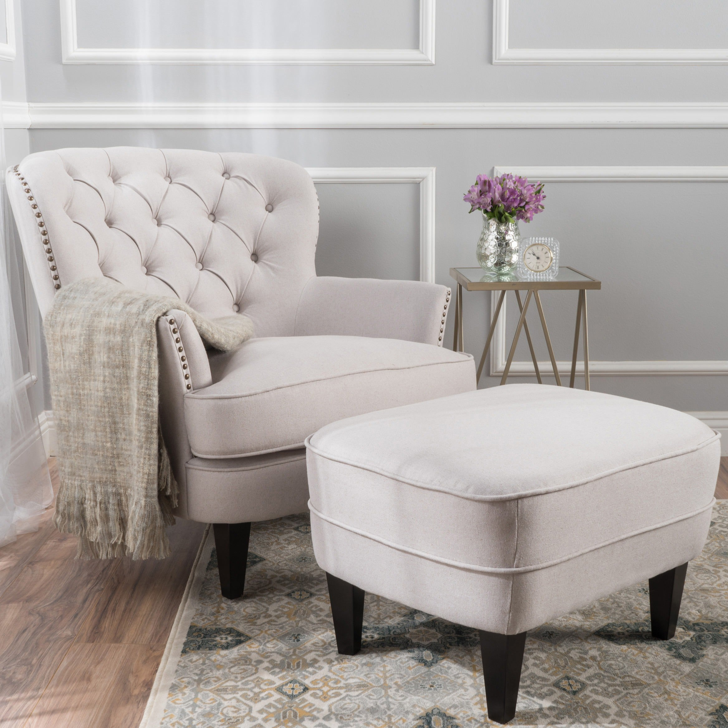 Superbe Tafton Tufted Fabric Club Chair With Ottoman By Christopher Knight Home