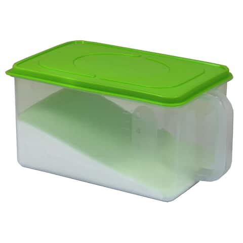 Basicware Clear Plastic Sealed Kitchen Container With Handle and Green Lid