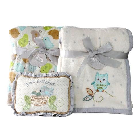 Nurture Owl and Nesting Birdies Blanket Gift Set