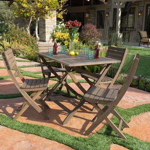 Positano Outdoor Acacia Wood 5-piece Folding Dining Set by Christopher Knight Home