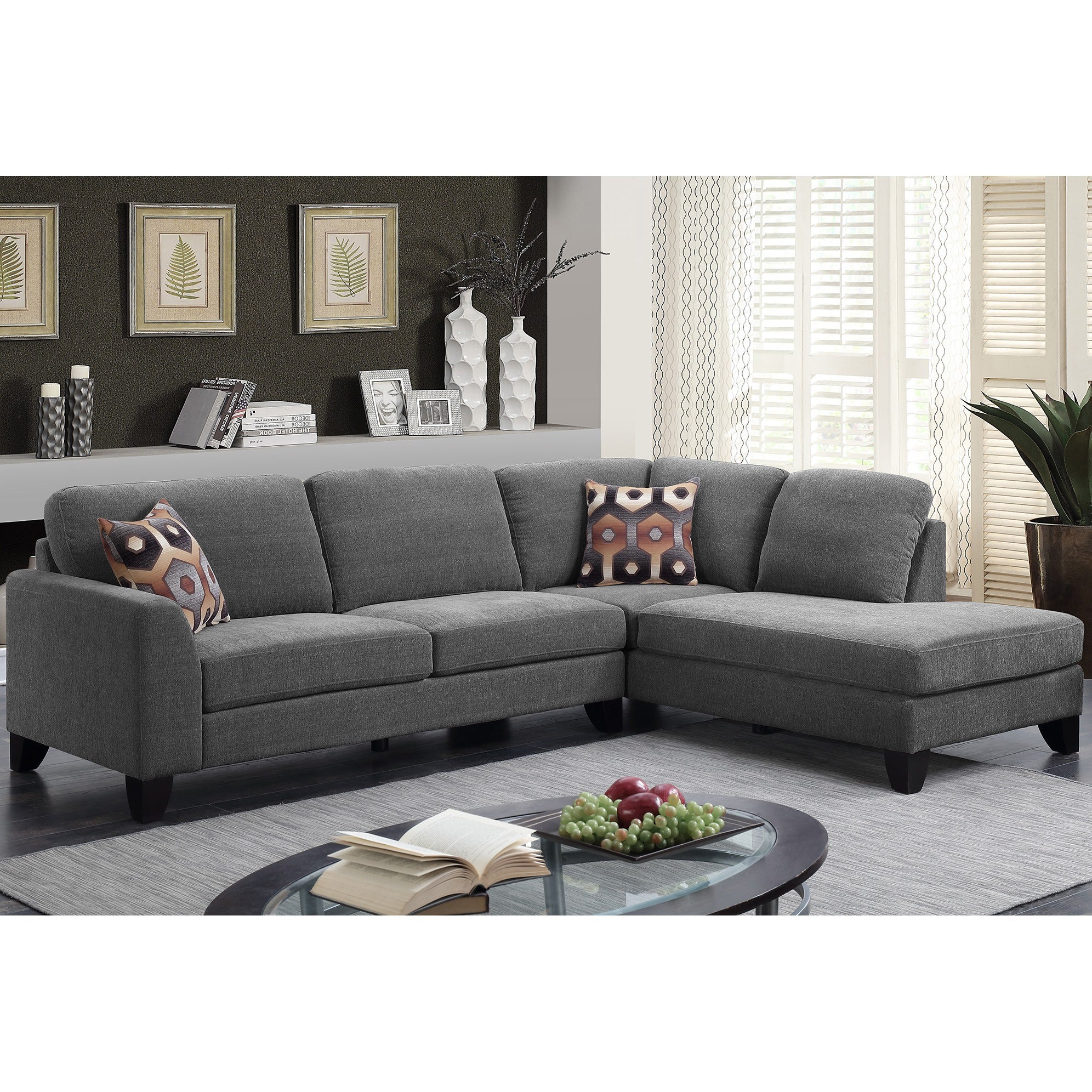 Porter Monza Grey Chenille Sectional Sofa with Optional Geometric