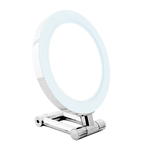 Rucci LED Chrome Stand Mirror and 3-in-1 Compact Mirror