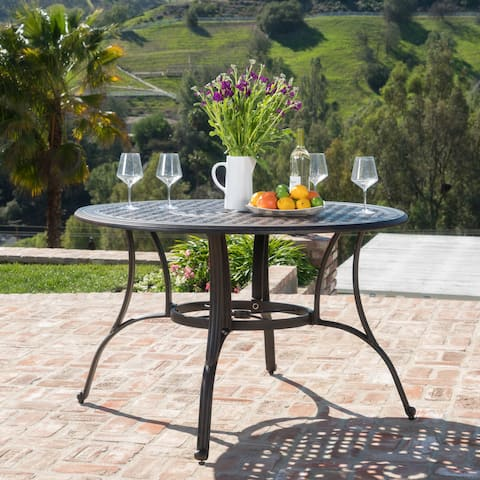 Alfresco Outdoor Cast Aluminum Circular Dining Table Only By Christopher Knight Home