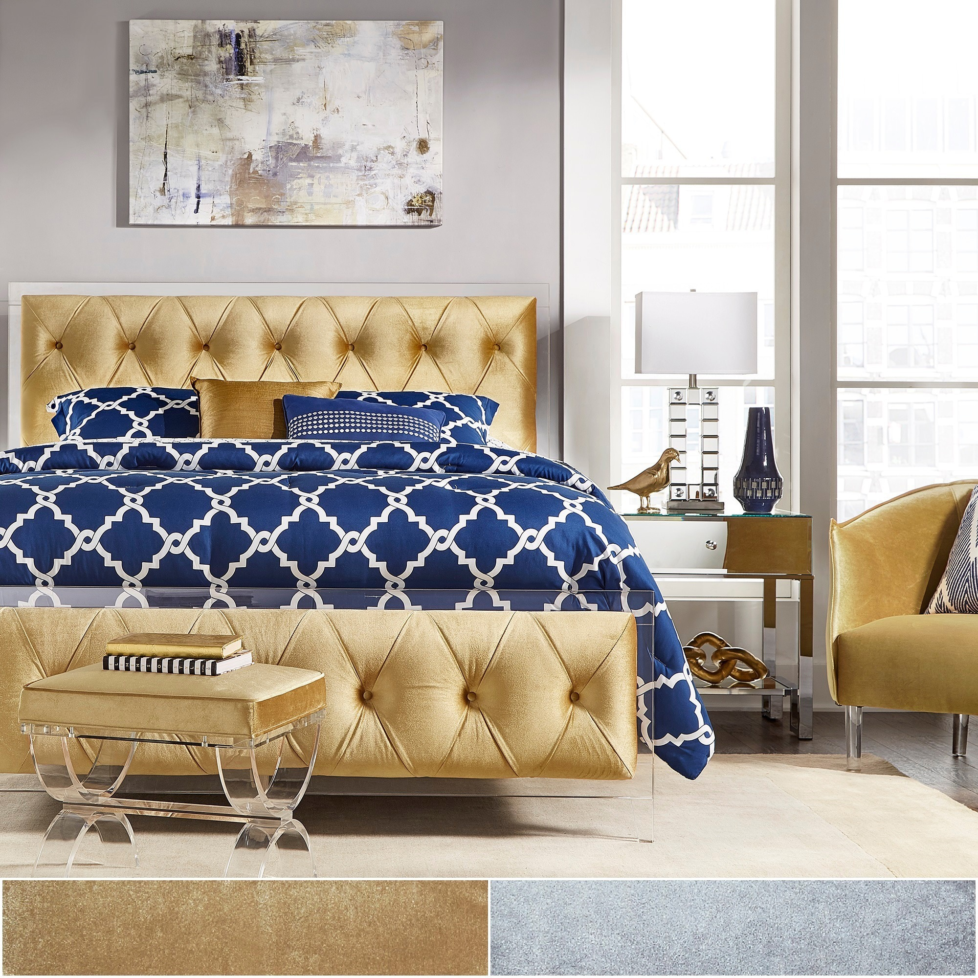 Anya King-size Velvet Button Tufted Acrylic Headboard and...