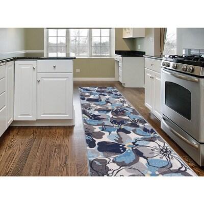 Grey/Blue Nylon Modern Large Floral Non-slip Non-skid Area Rug Runner - 2' x 7'
