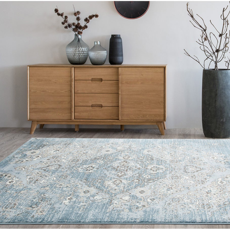 Persian Rugs Blue and Beige Vintage Antique-designed Area...