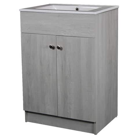 24-inch Sink-top Single-sink Ceramic Whitewash Finish Bathroom Vanity