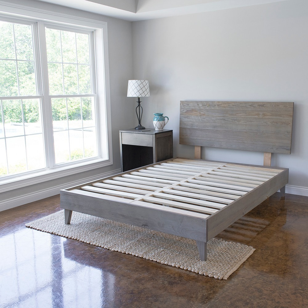 Kotter Home Industrial Barnwood Platform Bed Frame and He...