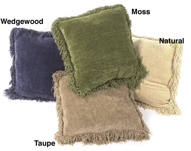 Decorative Pillows With Fringe Part - 35: Rayon Chenille Decorative Pillow With Fringe