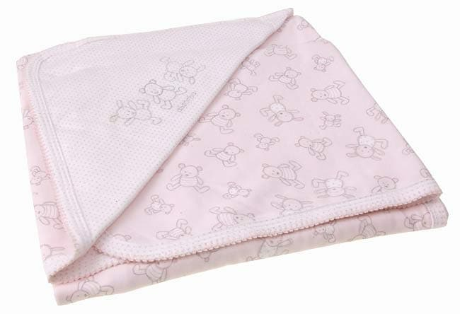 Absorba Pink Bear and Bunny Newborn Blanket