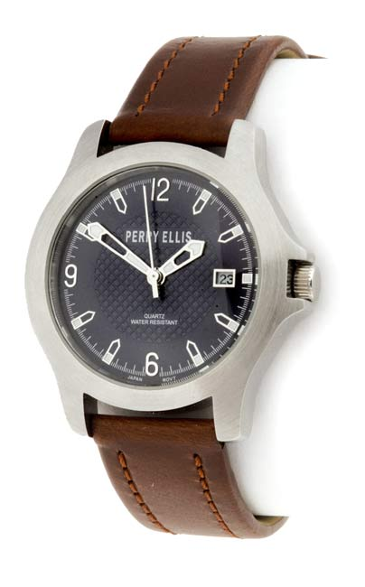 a41f9f4b8c Shop Perry Ellis Men s Watch with Brown Leather Strap - Free Shipping Today  - Overstock - 648926