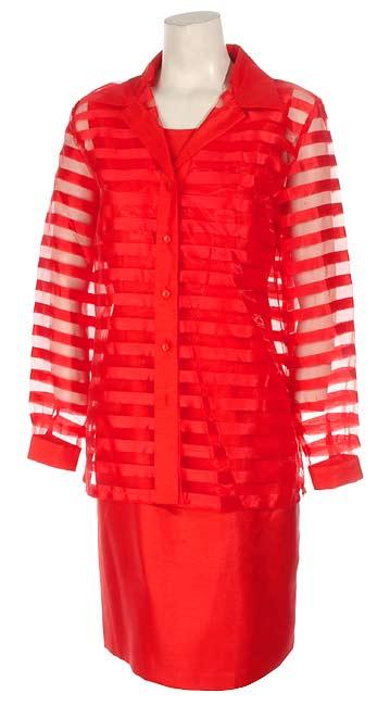 Sag Harbor Red Sheath Dress with Organza Jacket