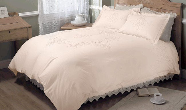Cutwork Ecru Duvet Cover Set (Twin)