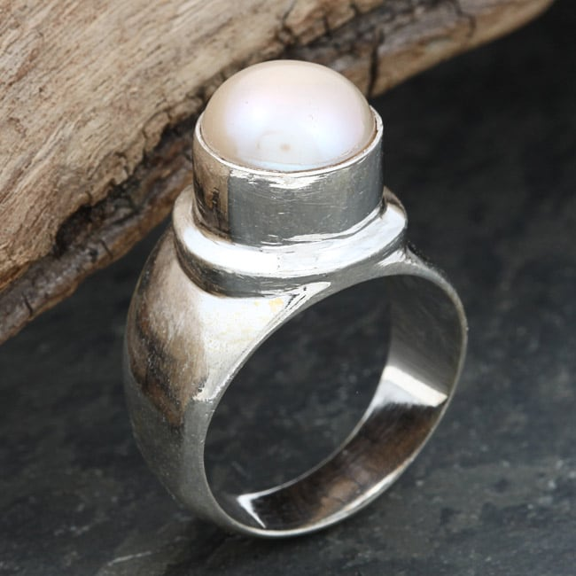 Sterling Silver Baroque Pearl Ring (10 mm) (Nepal)