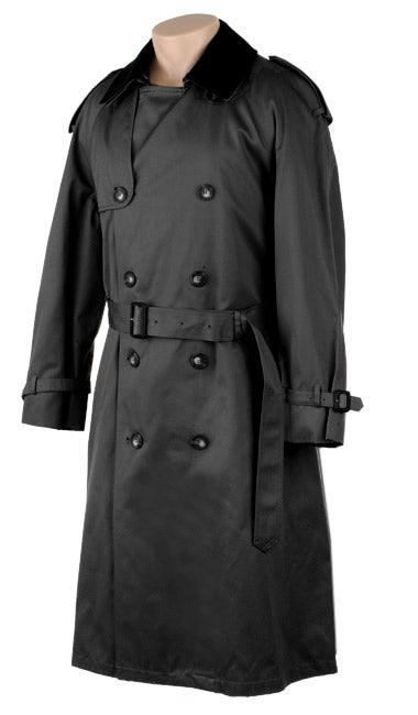 Chaps Black Double Breasted Metropolis Trench Coat