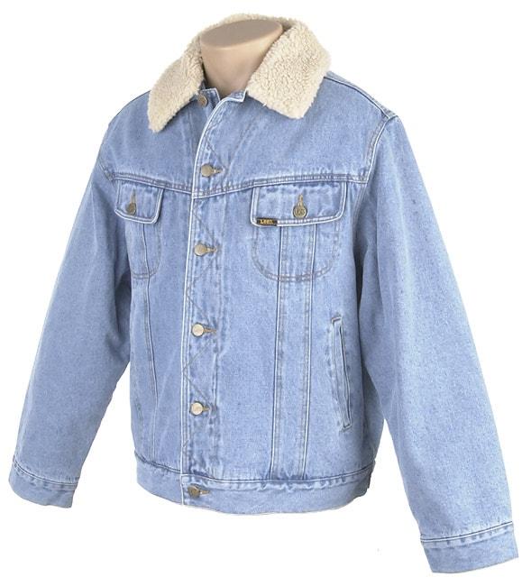 Lee Men's Blue Stonewashed Denim Jacket with Sherpa Lining