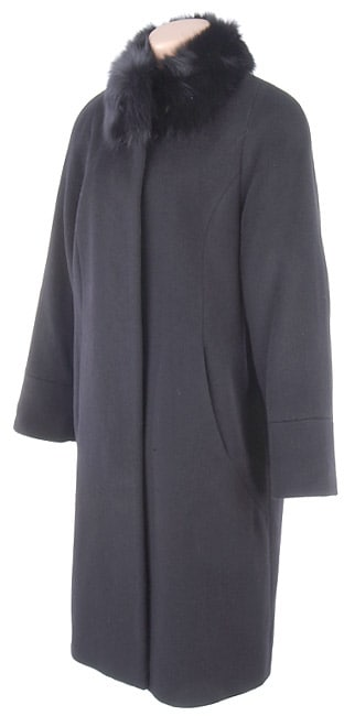 Albert Nipon Black Wool Walking Coat w/Fox Collar