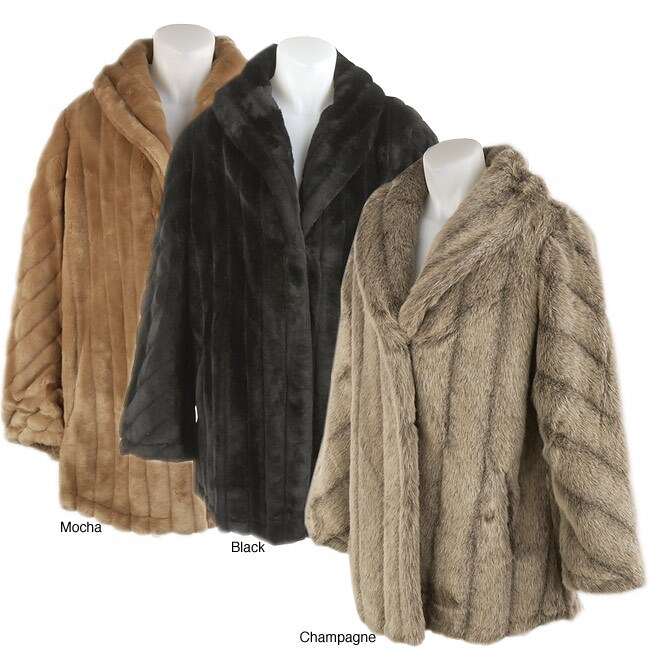 Komitor Plus Size Reversible Faux Fur Coat