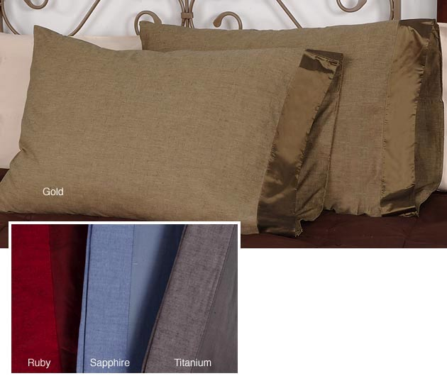 Heather Cotton Pillowcases with Silk Cuff (Set of 2)