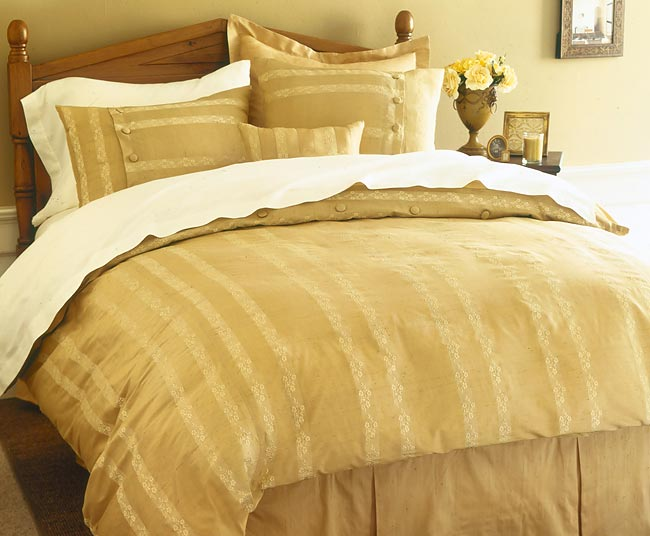 Monaco Golden Dupioni Silk Comforter Set