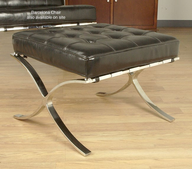 Barcelona Style Black Leather Ottoman Free Shipping