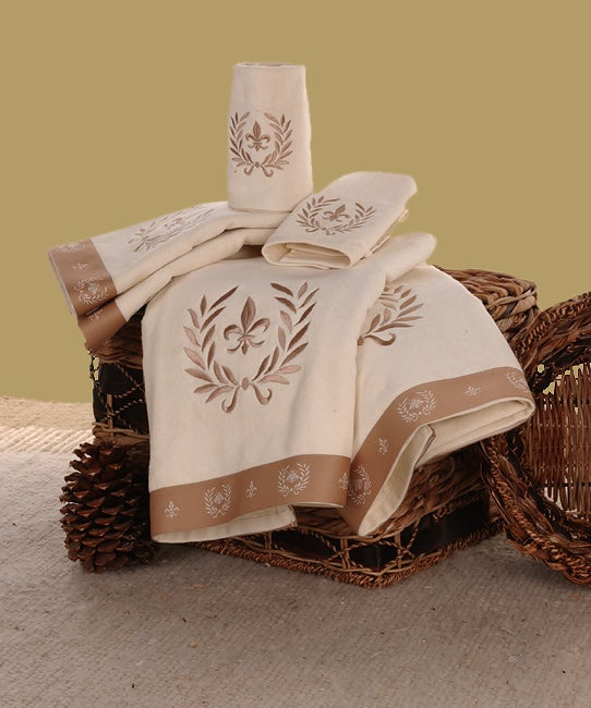 Shop Waverly Fleur De Lis Ivory Towels Set Of 6 Free Shipping