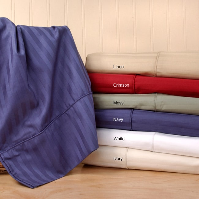 Sateen 320 Thread Count Stripe Sheet Set (Twin or King)