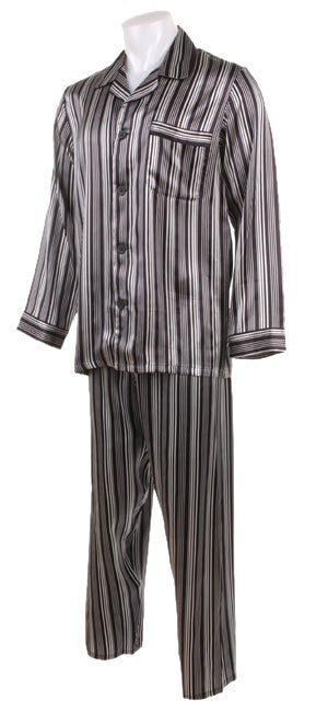 Majestic Men's Black/White Striped Silk Pajamas - Free Shipping ...