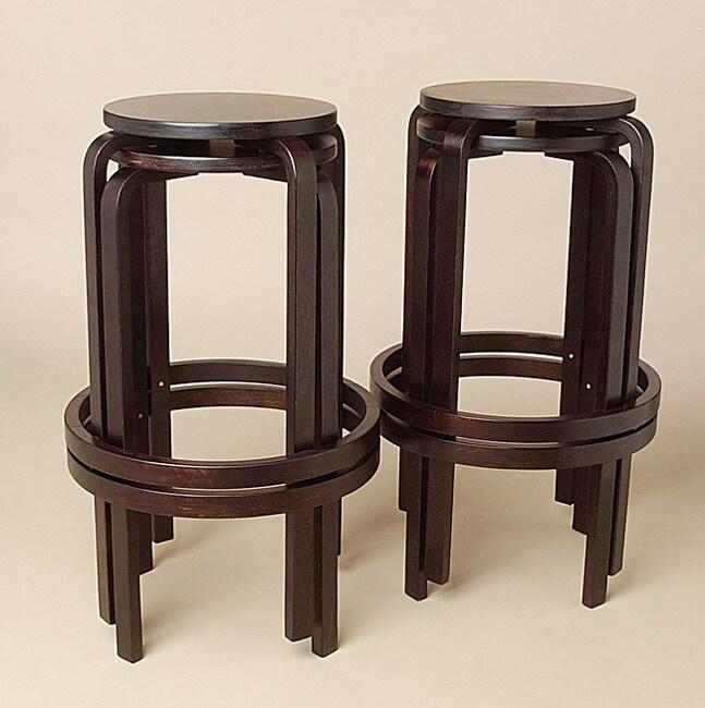 Bentwood Dark Walnut Stackable Barstools Set Of 4 Free