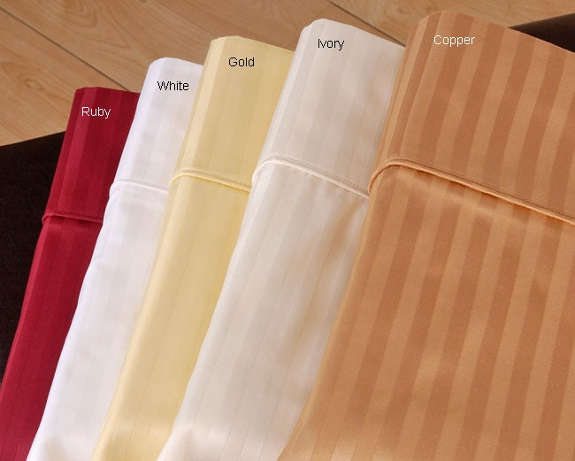 Sateen 600 Thread Count Stripe Sheet Set (King)