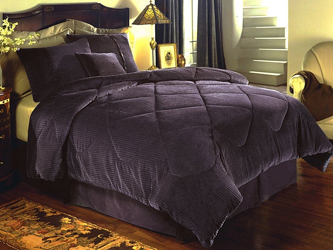 Harmony Eggplant Twin Duvet Cover Set