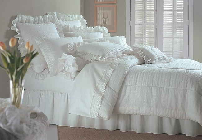 Lauren's White Lace Comforter Ensemble with 200 tc Sheet Set