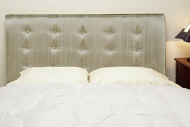 Grey Silk Upholstered Queen Size Headboard Free Shipping