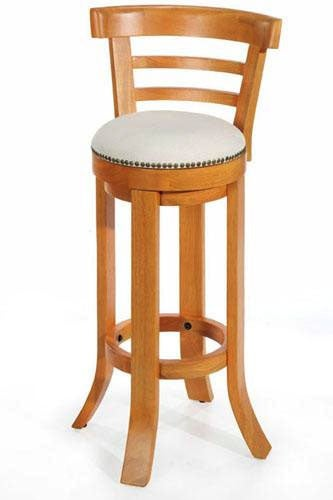 Natural Nailhead Swivel Bar Stool With Back Honey Oak