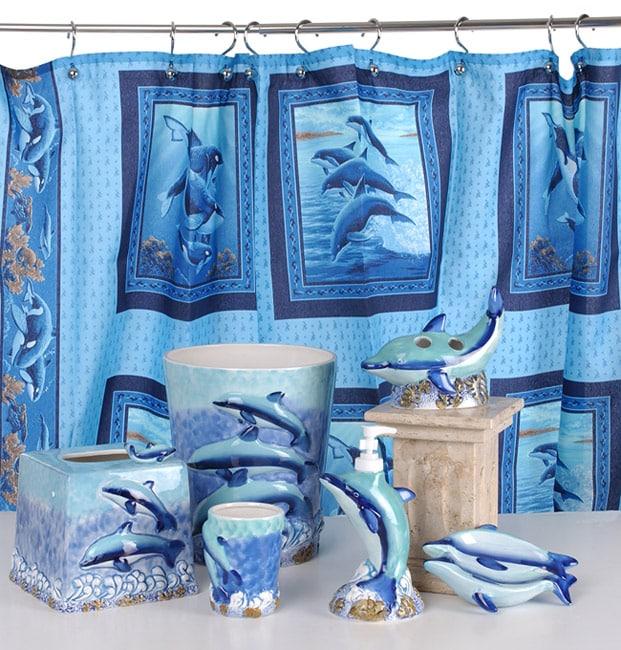 Shop Dolphin Bathroom Accessories Set w/ Shower Curtain - Free ...
