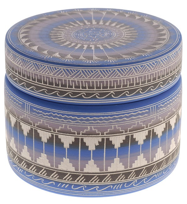 Midnight Blue Etched Pottery Jewelry Box (Native American)