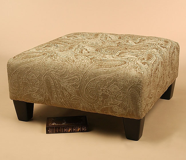 Olive Green Tapestry Button Tufted Cocktail Ottoman Free