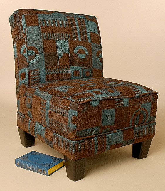 Brown teal pattern blocks welted chair free shipping for Teal and brown chair
