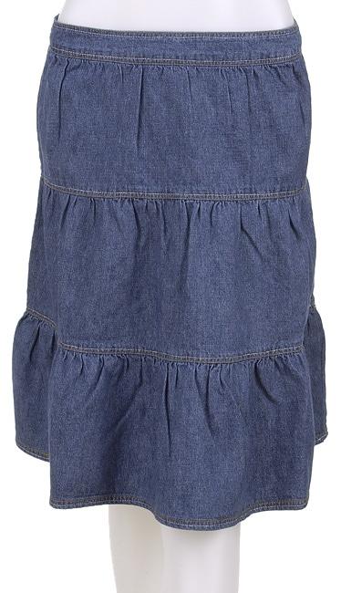 junior tiered knee length denim skirt free shipping