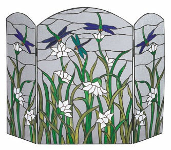 Stained Glass Dragonfly Fireplace Screen Free Shipping Today Overstock Com 058873