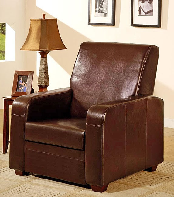 Chocolate leather recliner chair free shipping today for Addin chaise recliner
