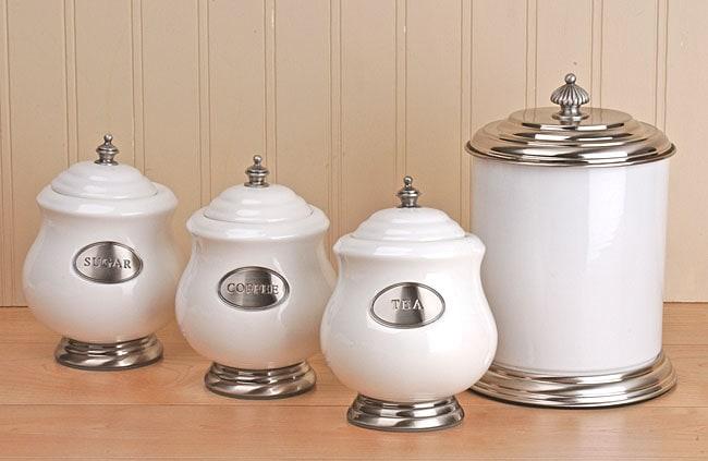 Godinger Porcelain and Pewter 4-piece Canister Set