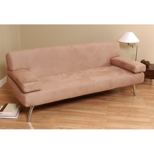 shop t back light brown microsuede sofa bed free shipping today rh overstock com Brown Microsuede Sectional Microsuede Sectional