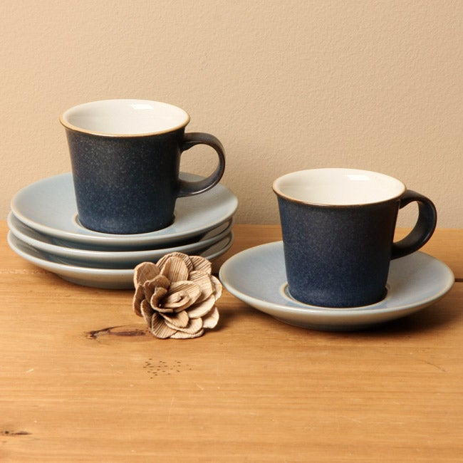 Denby Blue Jetty Coffee Cup And Saucers Set Of 4